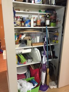 Pantry/utility: starting to overflow on the floor.