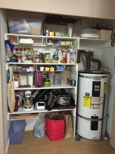 Pantry after: nearly the same amount of items, just organized.